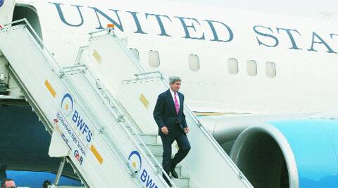 John Kerry arrives at the airport in New Delhi on Wednesday.  ( Source: Express photo by Renuka Puri )