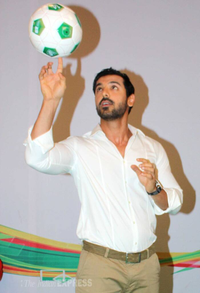 John Abraham shows off his spinning skills. (Source: Varinder Chawla)