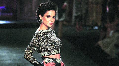 (Above) Kangana Ranaut walked the ramp for Anju Modi; a model sports the dhoti.