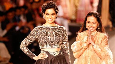 Kangana Ranaut walked the ramp for designer Anju Modi at the ongoing Couture Week. (Source: AP)