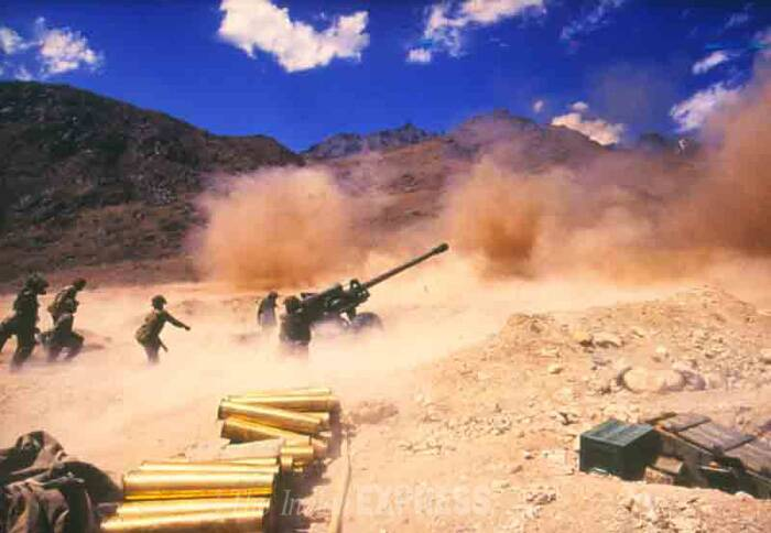 A scene from the Kargil war on an unknown date. (Source: Express archive photo)