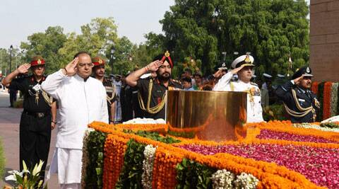 Defence Minister Arun Jaitley along with the Chief of Army Staff, General Bikram Singh, the Chief of Naval Staff, Admiral R K Dhowan and the Chief of the Air Staff, Air Chief Marshal Arup Raha paying homage at Amar Jawan Jyoti on the occasion of Kargil Vijay Diwas in New Delhi on Saturday.