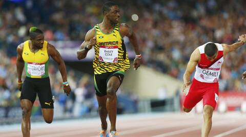 Kemar Bailey-Cole of Jamaica finished first ahead of Adam Gemili and Jason Livermore (Source: Reuters)