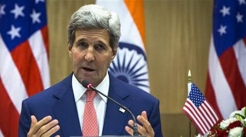 U.S. Secretary of State John Kerry speaks during a press conference addressed jointly with Indian Foreign Minister Sushma Swaraj in New Delhi. (Source: PTI)
