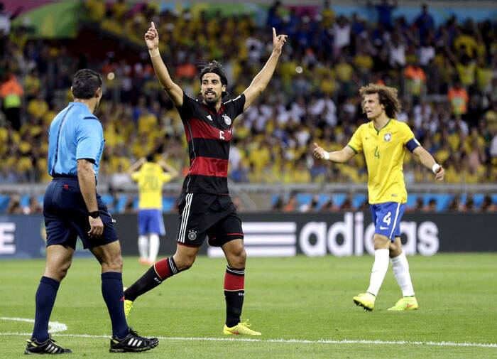 Germany entered the half-time not before a 29th minute strike by Sami Khedira, who made it 5-0 for his team and all but ousted Brazil from the World Cup. (Source: AP)