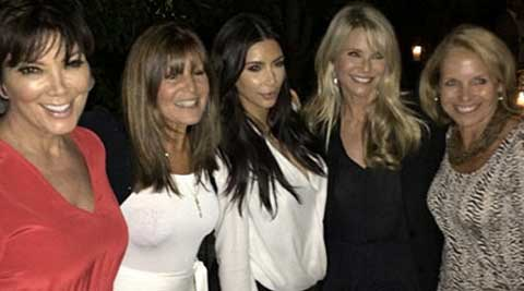 Alongside the caption, Jenner posted a picture of the famous girls and friend Shelli Azoff dolled up for the holiday. Supermodel and Hamptons queen Christie Brinkley stood between Kanye West's wife, 33, and Couric. (Source: Instagram)
