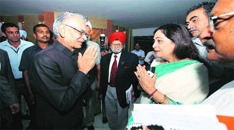 City MP Kirron Kher with UT Administrator Shivraj V Patil during the 8th meeting of the Administrator's Advisory council on Monday. (Source: Express photo Kamleshwar Singh)