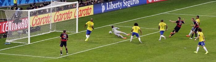 Brazil were yet to recover from the early shock when Miroslav Klose doubled the German lead in the 23rd minute. (Source: AP)