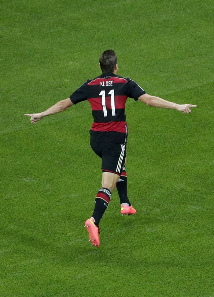 With that goal, Klose became the highest goal scorer in the World Cup finals with 16 goals. He overtook Brazil's Ronaldo who has 15 goals. (Source: AP)