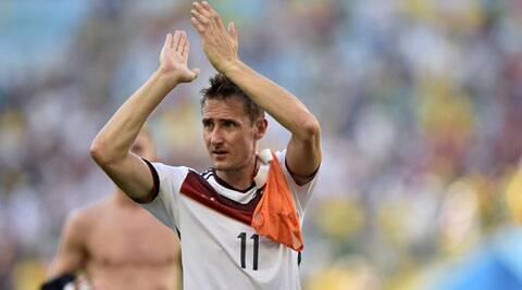 Miroslav Klose reacts at the end of the World Cup quarterfinal match between Germany and France. (Source: AP)
