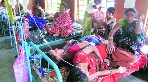 Patients admitted with fever at Dhupguri Hospital in Jalpaiguri on Tuesday. (Express)