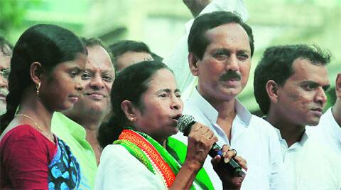 CPI-M Chhaya Dolui and Congress's  Ghulam Rabbani, Asit Mal and Umapada Bauri with Mamata after joining the TMC, in Kolkata, Monday.(Partha Paul)