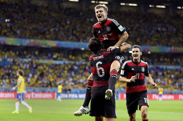 Germany players are ecstatic after their semi final victory over Brazil