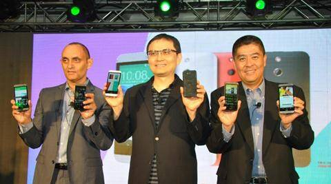 Faisal Siddiqui, country head HTC India, Chialin Chang, President Global Sales and CFO, Jack Yang, President, HTC south Asia at the launch in New Delhi (Source: HTC)