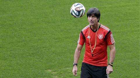 Germany's coach Joachim Loew at a practice session ahead of his team's World Cup semifinal clash against Brazil. (Source: AP)