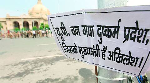A placard put outside the Assembly questions the rising incidents of crime against women in state, in Lucknow on Monday. (Vishal Srivastav)