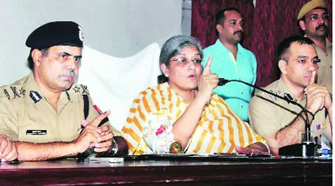 ADG Sutapa Sanyal and other senior police officers address media, in Lucknow on Sunday.(Pramod Singh)