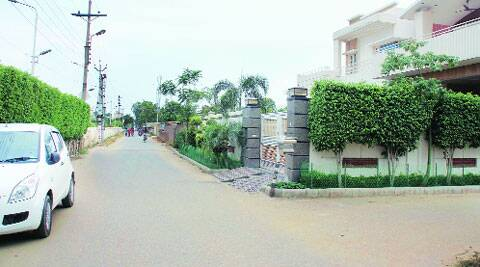 The stretch outside PSPCL MD K D Chaudhary's house in Ludhiana. (Gurmeet Singh)