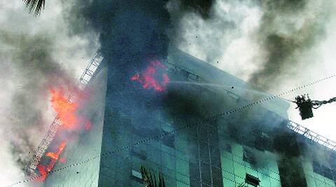 The blaze at the Lotus Business Park in Andheri (west) last Friday.