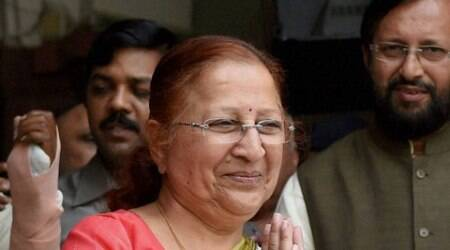 Asked about repeated allegations by the Congress against her, Mahajan said she cannot do anything.(Source: PTI photo)