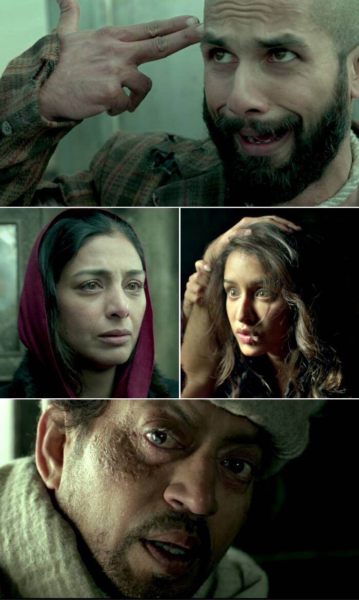 The first trailer of Shahid Kapoor's 'Haider', which released on Tuesday (July 8), left us spellbound. The plethora of emotions showcased by the film's cast in mere two and and half minutes was a marvelous act. Here's a look at the various moods of Shahid Kapoor, Tabu, Shraddha Kapoor and Irrfan Khan from the first trailer of 'Haider'.