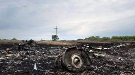 The crash site of a Malaysia Airlines jet is pictured near the village of Hrabove, eastern Ukraine, early Saturday, July 19, 2014. (Source :AP)