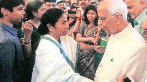 Chief Minister Mamata Banerjee with Governor Kesari Nath Tripathi, at Raj Bhavan, in Kolkata, Thursday.