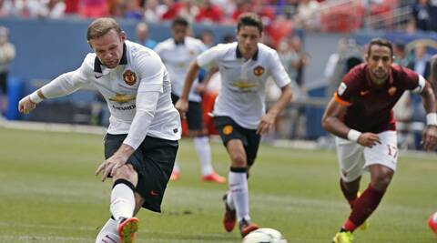 Wayne Rooney opened the scoring against Roma. (Source: AP)