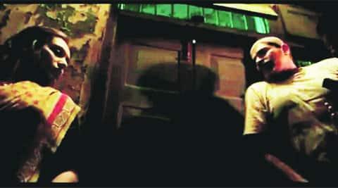 Rani Mukerji and a co-actor shoot in a dark lane
