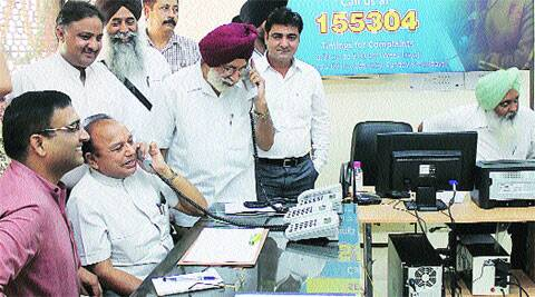 Mayor H C Kalyan talks to a complainant in Sector 17 on Wednesday. (Source: Express photo)