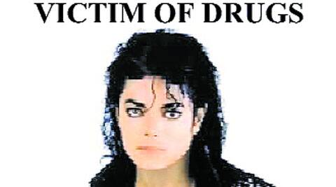 The late pop star is featured in a slide in a presentation against drug use.