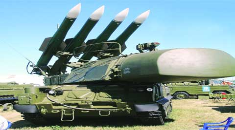 Powerful: The BUK surface-to-air missile system (like this one), that is believed to have shot down flight MH17, is an old Soviet-built weapon designed to engage light aircraft, cruise missiles and drones. file