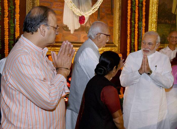 "Prime Minister Narender Modi, with senior BJP leader L K Advani, Union Ministers Sushma Swaraj and Arun Jaitley at the function to celebrate the birth anniversary of Shyama Prasad Mookerjee at the Parliament House in New Delhi. (Source: PTI)<br /><br />Prime Minister Narendra Modi on Sunday (July 6) paid tribute to Bharatiya Jana Sangh founder Syama Prasad Mookerjee on his birth anniversary, saying his contribution to the nation is ""invaluable""."