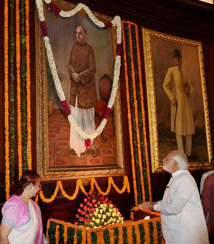 Lok Sabha speaker Sumitra Mahajan and Narender Modi light a lamp to pay tribute to the Bharatiya Jana Sangh founder at the function. (Source: PTI)<br /><br />The portrait of Mookerjee was unveiled in the Central Hall of Parliament House by the then President R Venkataraman, on May 31, 1991, in recognition of his outstanding services to the nation.