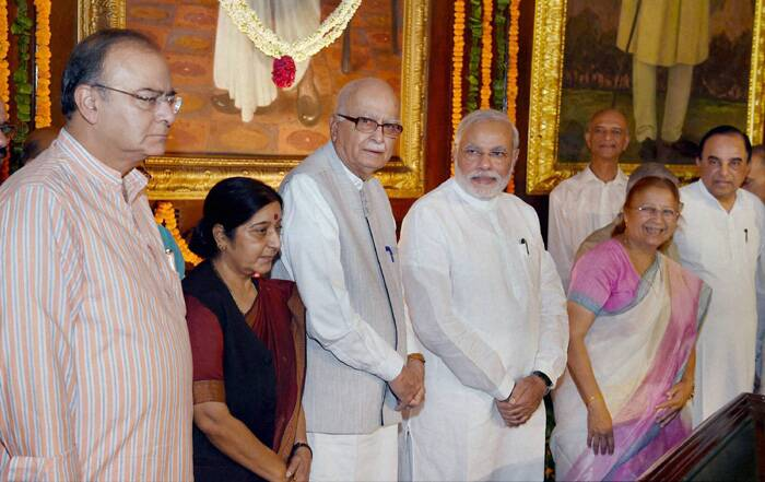 Sumitra Mahajan with Prime Minister Narender Modi, senior BJP leader L K Advani, Union Ministers Sushma Swaraj and Arun Jaitley at the function to celebrate the birth anniversary of Shyama Prasad Mookerjee at the Parliament House in New Delhi. (Source: PTI)