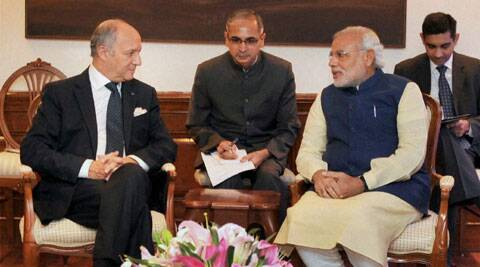 New Delhi: Prime Minister Narendra Modi with French Foreign Minister Laurent Fabius at a meeting in New Delhi on Tuesday. (Source: PTI)