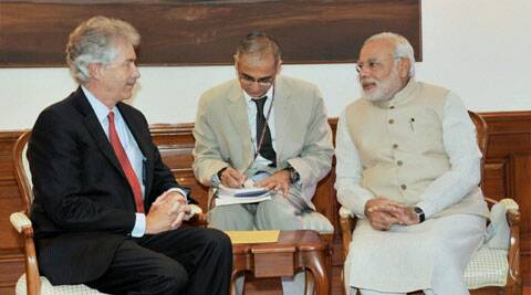 Prime Minister Narendra Modi in a meeting with US Deputy Secretary of State William Burns in New Delhi. (Source: PTI)