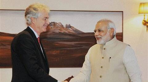 Prime Minister Narendra Modi at a meeting with US Deputy Secretary of State William Burns in New Delhi on Friday. (Source: PTI)