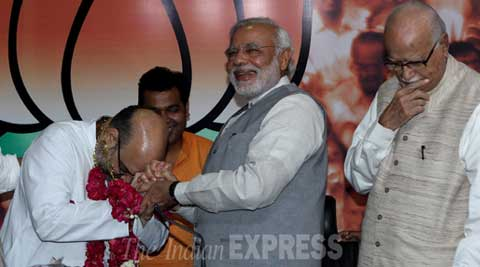 Narendra Modi's close confidant Amit Shah was announced BJP President. (Source: Express Photo by Prem Nath Pandey)