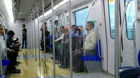 The roof of a Mumbai Metro train coach started leaking water after heavy rains on Wednesday.