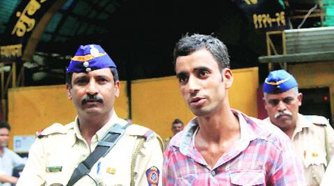 The convict, Sajjad Pathan, is taken to court from Arthur Road jail on Monday. (Ganesh Shirsekar)