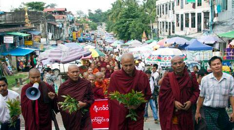 Myanmar Buddhist monks march during a rally against recent violence in central Myanmar. ( Source: AP )