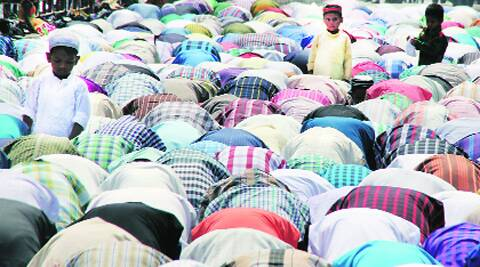 During namaj on Eid-ul-Fitr on Hambran road outside the Bagh Wali Masjid in Ludhiana on Tuesday.  Source: Gurmeet Singh