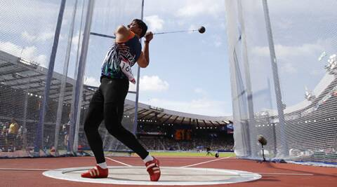 Chandrodaya Narayan Singh competes in the qualification round for the men's hammer throw. (Source: Reuters)