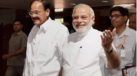 PM Narendra Modi along with Union Minister for Parliamentary Affairs M Venkaiah Naidu  before the commencement of the Budget Session, at Parliament House. (PTI)