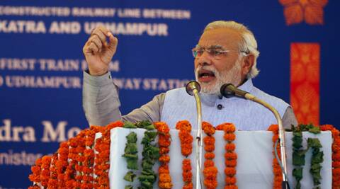 """We want the railway stations to have better facilities than airports,"" said Narendra Modi while addressing a gathering at the inauguration of the Katra rail line project in Jammu. (AP)"