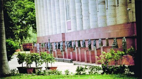 Sculptures kept outside the National Museum at Janpath in the capital. (Source: Express photo by Praveen Khanna)