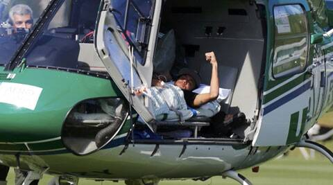 Brazil's Neymar gestures before being airlifted home from Brazil's training camp inTeresopolis near Rio de Janeiro (Source: Reuters)