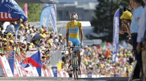 Italy's Vincenzo Nibali crosses the finish line to win the thirteenth stage of the Tour de France. (Source: AP)