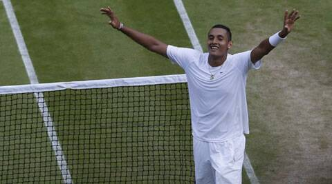 Kyrgios, making his Wimbledon debut on a wildcard, downed Nadal 7-6 (7/5), 5-7, 7-6 (7/5), 6-3 in an astonishing fourth round upset. (Source: AP)